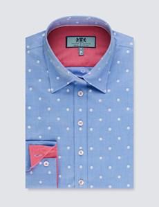Bluse – Regular Fit – Baumwolle – Hellblau mit weißen Punkten