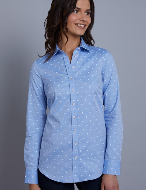 Women's Blue & White Dobby Spot Semi Fitted Shirt - Single Cuff