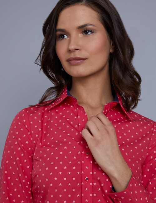 Women's Pink & White Dobby Star Print Semi Fitted Shirt - Single Cuff
