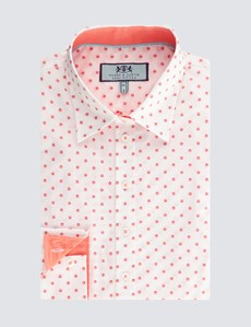 Women's White & Orange Dobby Spot Semi Fitted Shirt - Single Cuff