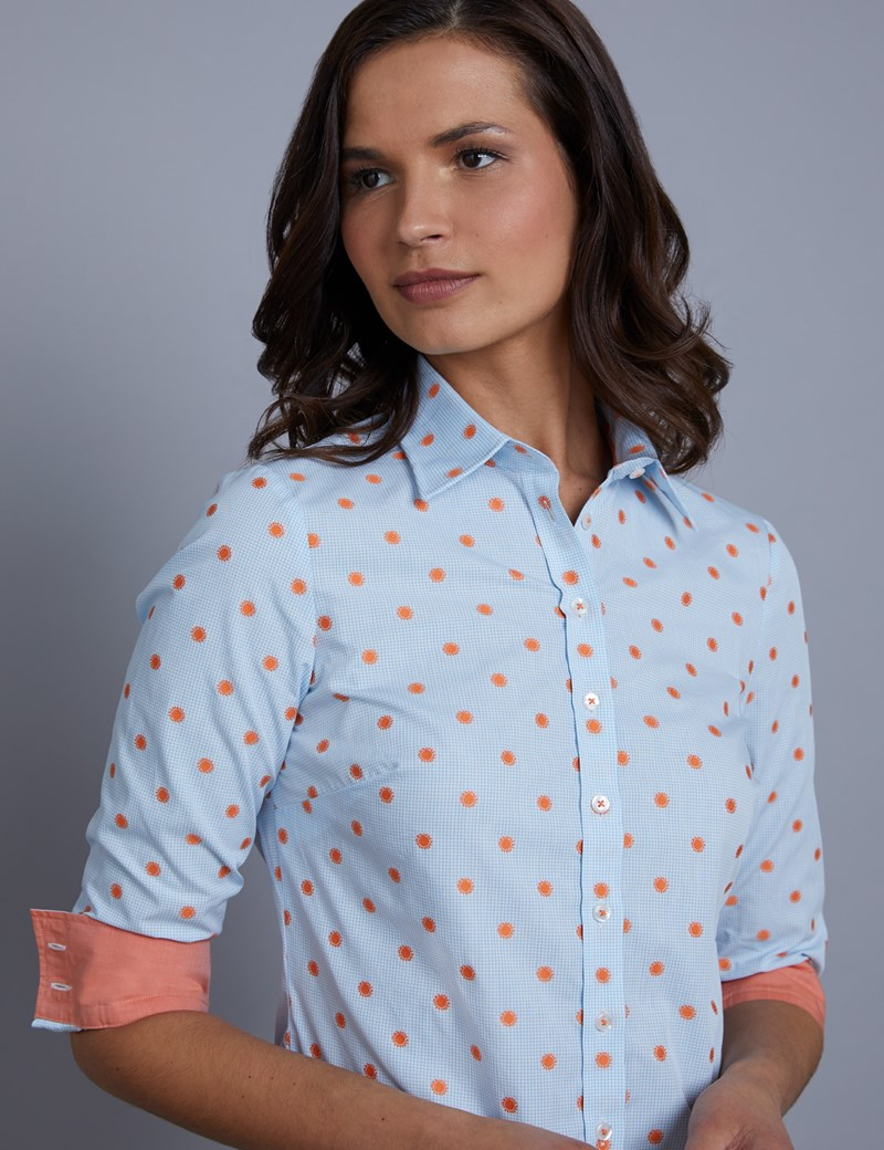 Women's Blue & Orange Sun Print Semi Fitted Shirt - Single Cuff