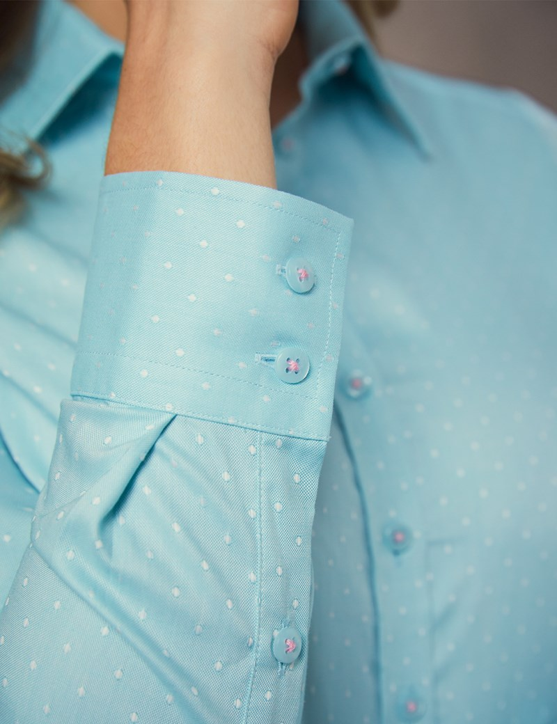 Women's Turquoise & White Spot Semi Fitted Shirt - Single Cuff