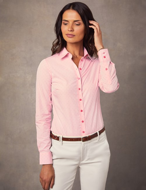 Women's Pale Pink Dobby Spot Semi Fitted Shirt - Single Cuff