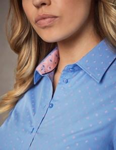 Women's Blue & Pink Geometric Dobby Semi Fitted Shirt - Single Cuff