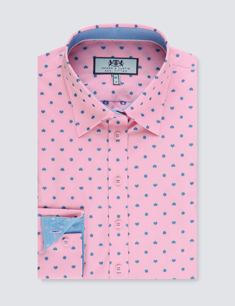 Women's Pink & Blue Hearts Print Semi Fitted Shirt - Single Cuff