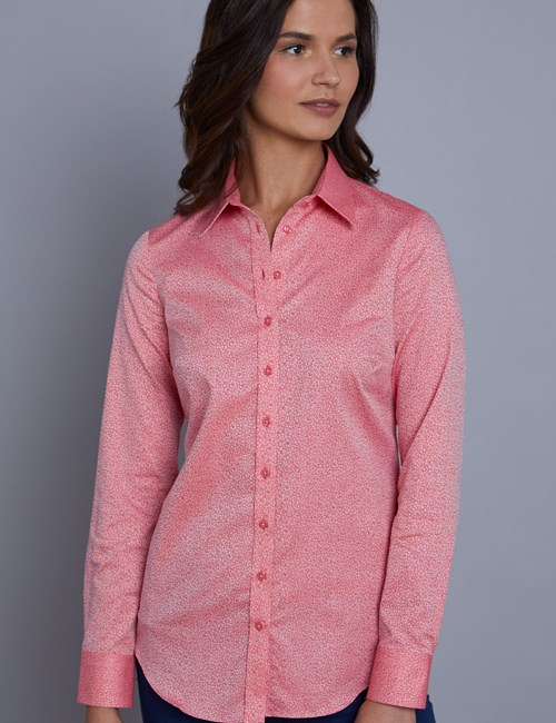 Women's Coral Jacquard Floral Semi Fitted Shirt - Single Cuff