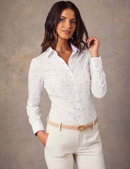 Women's White & Lilac Dobby Spot Semi Fitted Shirt - Single Cuff