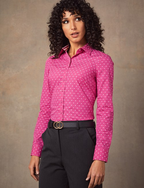 Women's Fuchsia & White Star Print Semi Fitted Shirt - Single Cuff