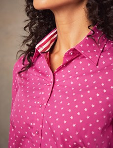 Women's Fuchsia & White Dobby Stars Semi Fitted Shirt - Single Cuff
