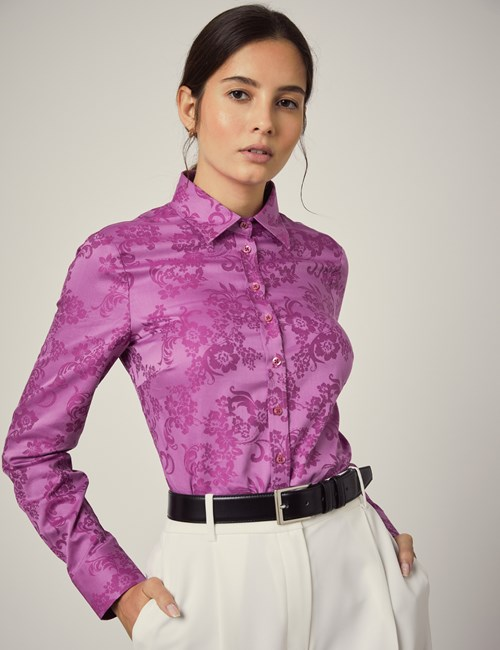 Women's Magenta Jacquard Floral Semi Fitted Shirt - Single Cuff