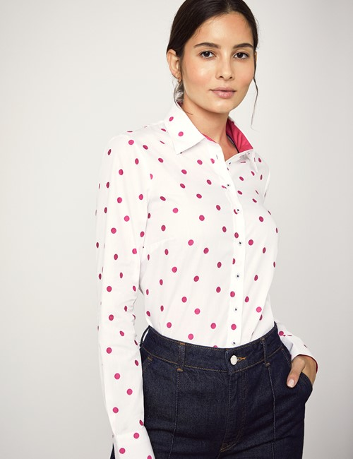 Women's White & Fuchsia Dobby Spot Semi Fitted Shirt - Single Cuff