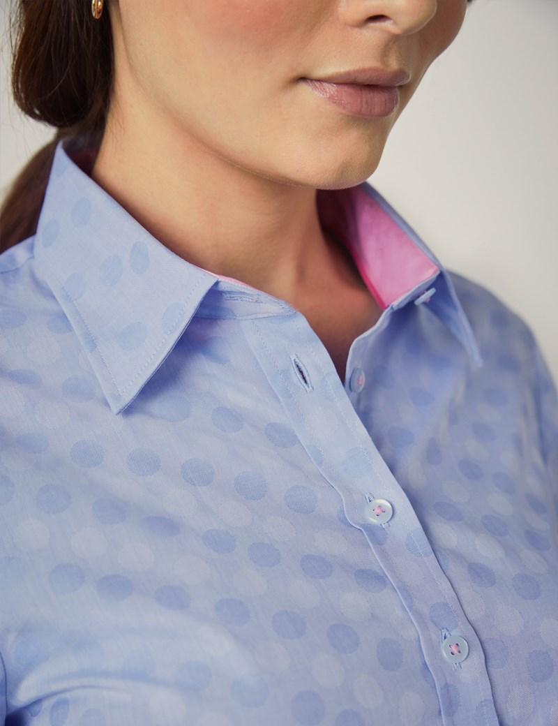 Bluse – Regular Fit – Baumwolle – Hellblau Dobby Kreise