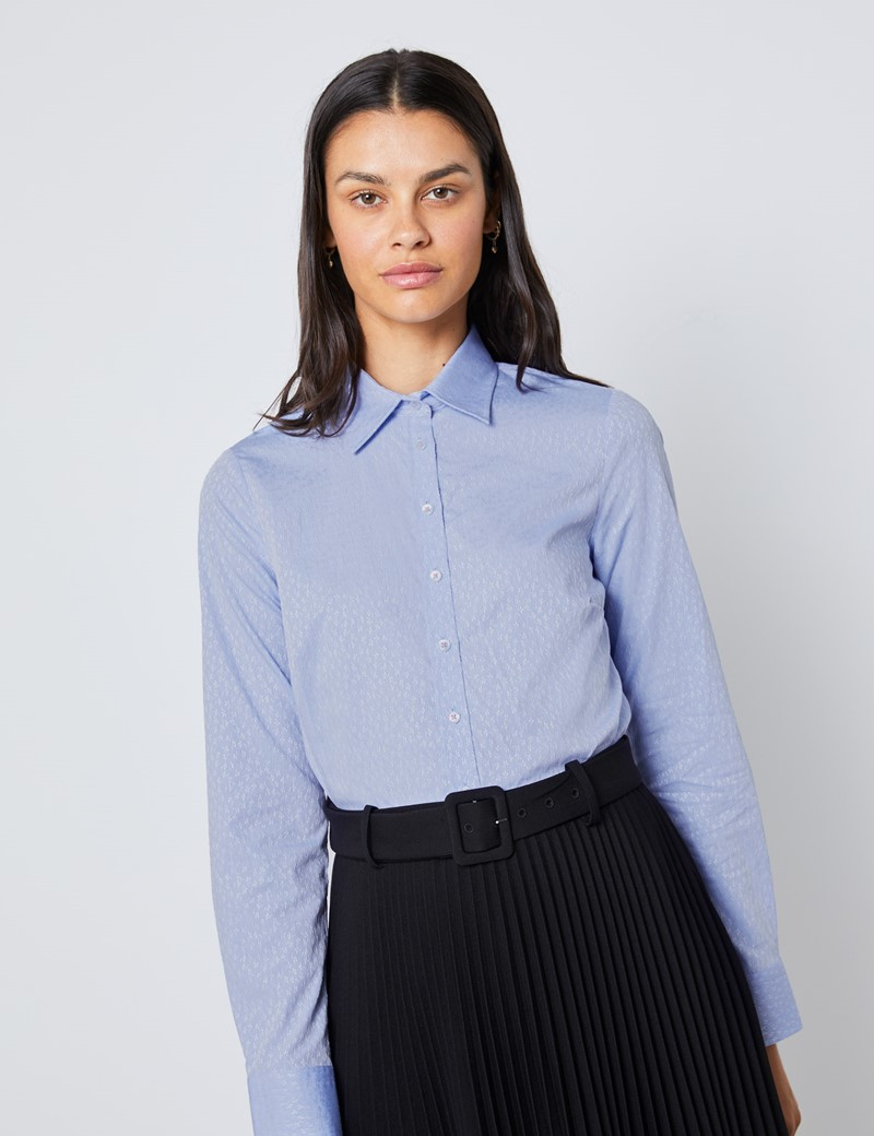 Women's Blue & White Dobby Leaves Semi Fitted Shirt - Single Cuff