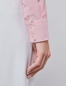 Women's Red Watermelon & Stripe Semi Fitted Shirt - Single Cuff