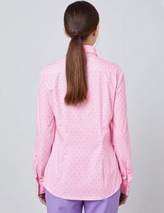 Bluse – Regular Fit – Baumwolle – rosa & fuchsia Pünktchen