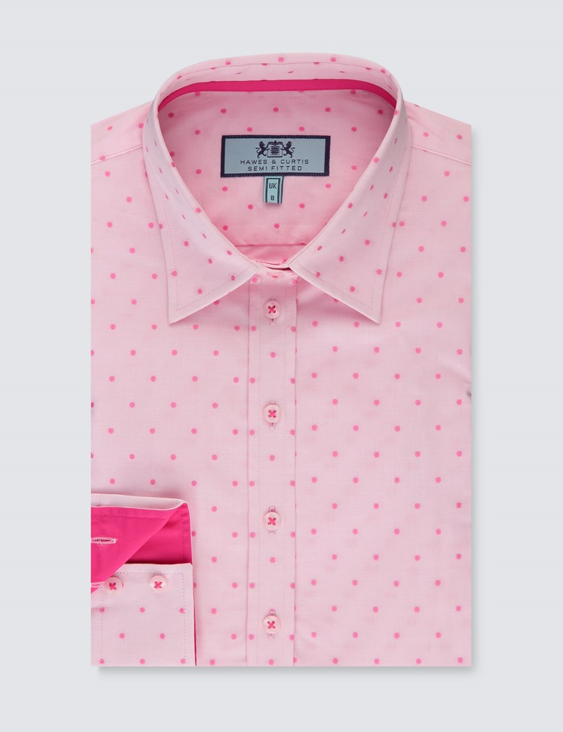 Women's Light Pink & Fuchsia Spot Semi Fitted Shirt - Single Cuff