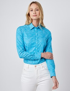 Women's Dark Turquoise Jacquard Paisley Semi Fitted Shirt - Single Cuff