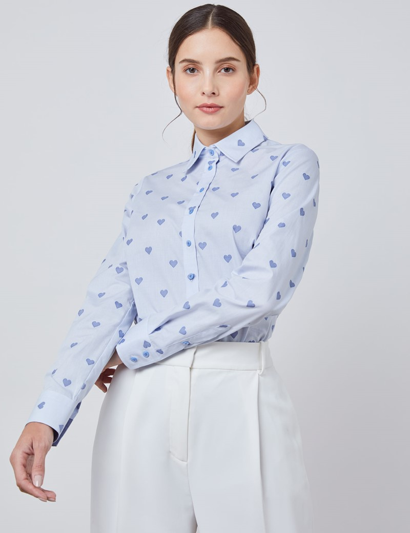 Women's Blue Dobby Hearts Semi Fitted Shirt - Single Cuff