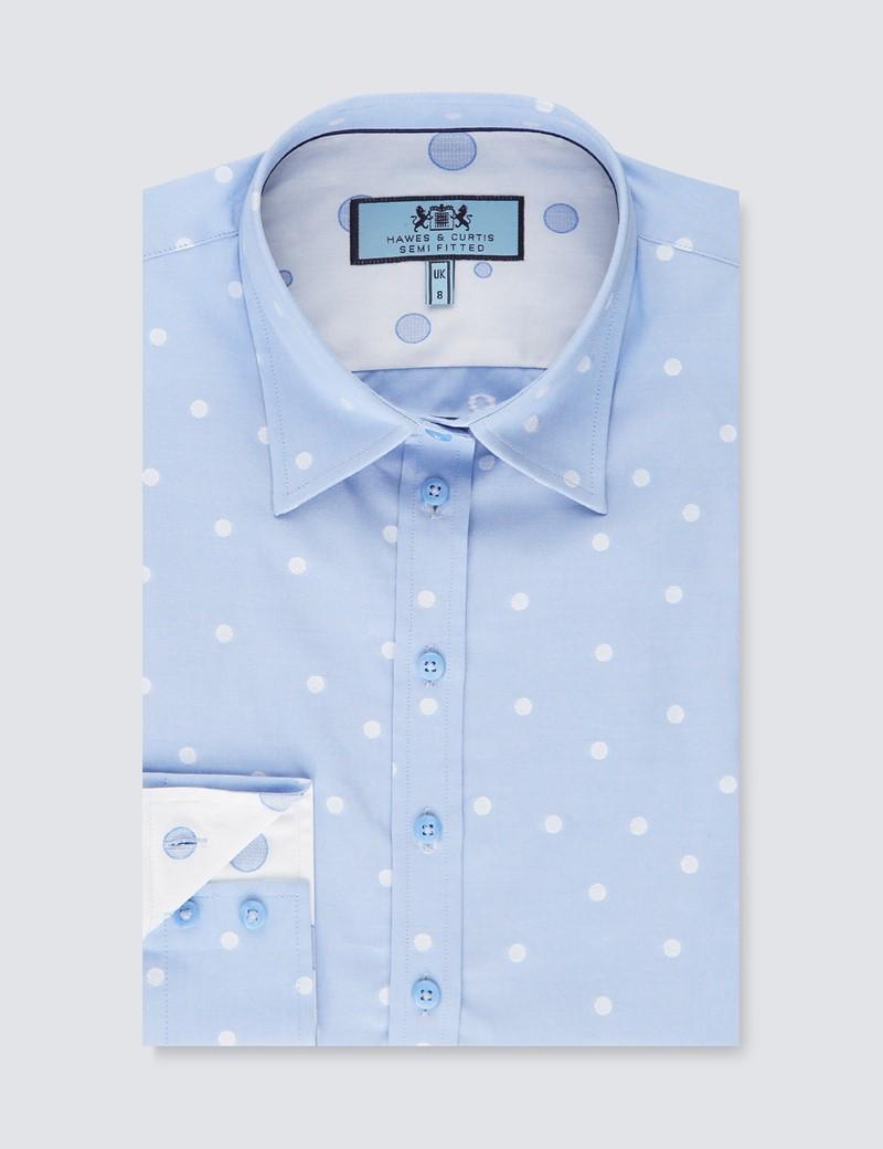 Women's Light Blue Dobby Spot Semi Fitted Shirt - Single Cuff