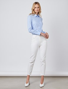 Women's Light Blue Dobby Spot Semi Fitted Shirt - Single Cuff