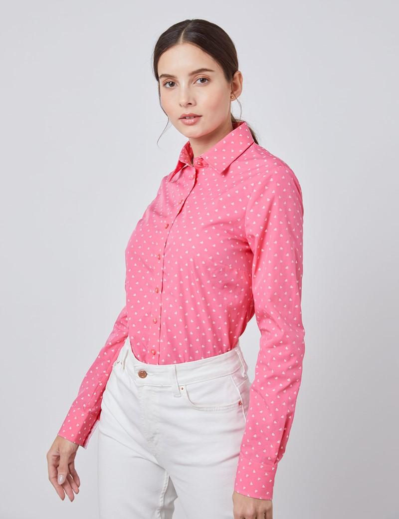 Women's Pink Dobby Hearts Semi Fitted Shirt - Single Cuff