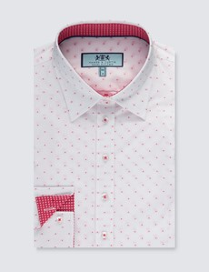 Women's White & Red Dobby Spot Semi Fitted Shirt - Single Cuff