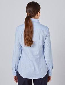 Women's Light Blue Dobby Jacquard Semi Fitted Shirt - Single Cuff