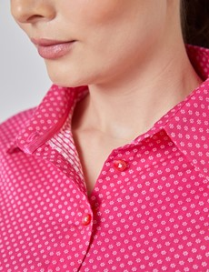 Women's Fuchsia & White Dobby Semi Fitted Shirt - Single Cuff