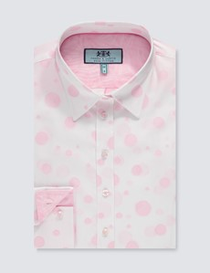 Bluse – Regular Fit – Baumwolle – weiß-rosa Dobby Dots