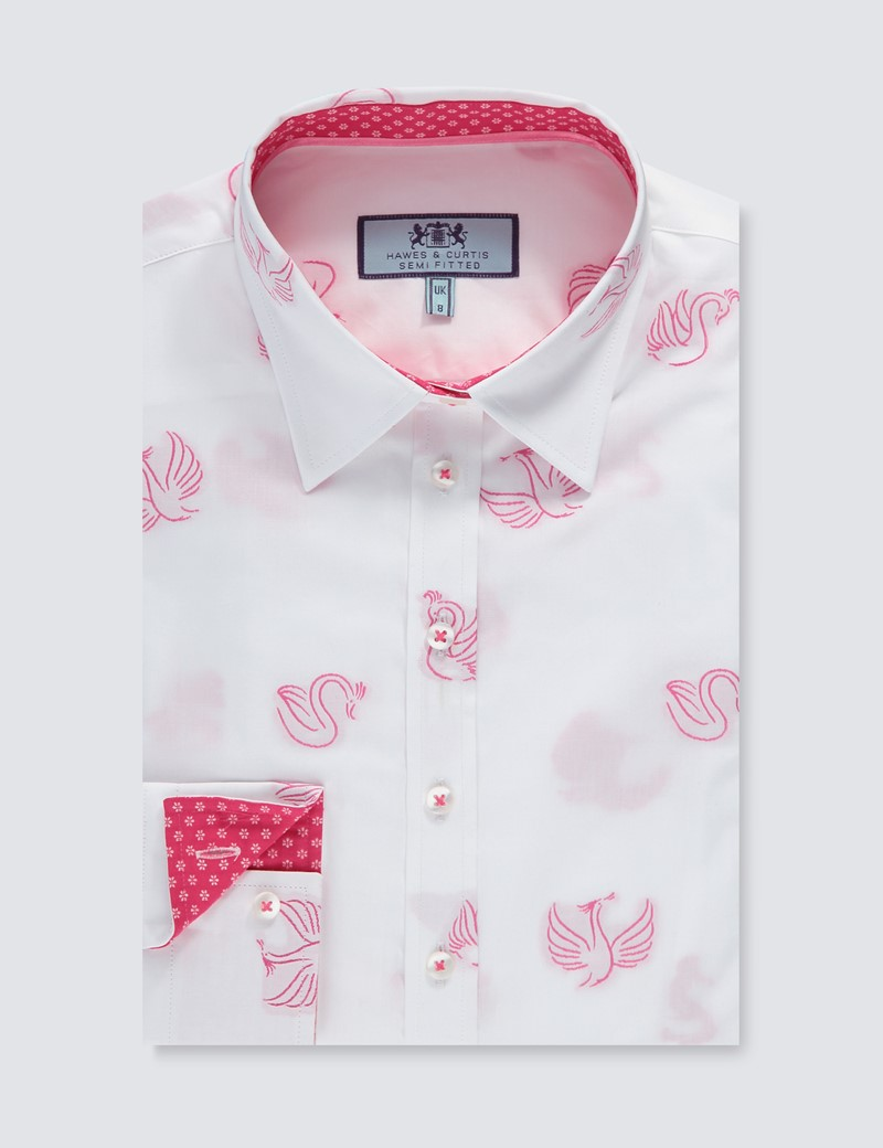 Women's White & Pink Dobby Semi Fitted Shirt - Single Cuff