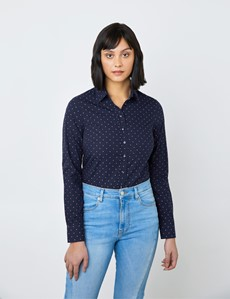 Women's Navy & Pink Dobby Spots Semi Fitted Shirt - Single Cuff