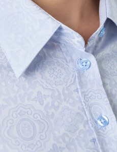 Women's Light Blue Self Design Print Semi Fitted Shirt - Single Cuff