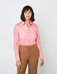 Women's Coral & Pink Dobby Spots Semi Fitted Shirt - Single Cuff