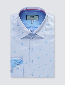 Women's Light Blue & Blue Dobby Stars Design Semi Fitted Shirt - Single Cuff