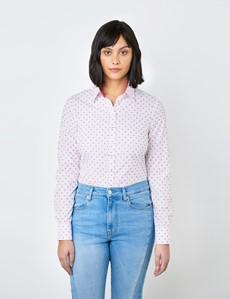 Women's White & Fuchsia Dobby Small Hearts Design Semi Fitted Shirt - Single Cuff