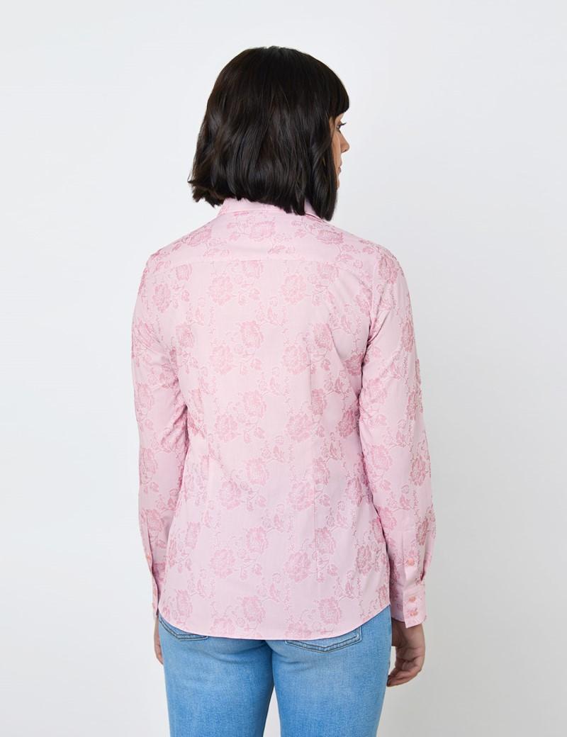 Women's Pink & Light Pink Floral Jacquard Design Semi Fitted Shirt - Single Cuff