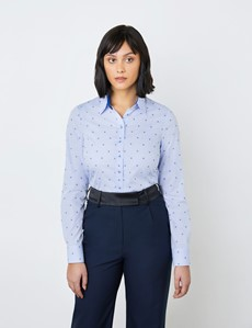Women's Light Blue & Blue Floral Dobby Design Semi Fitted Shirt - Single Cuff