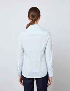 Women's White & Light Blue Dobby Hearts Design Semi Fitted Shirt