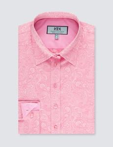 Women's Pink Dobby Paisley Semi Fitted Shirt