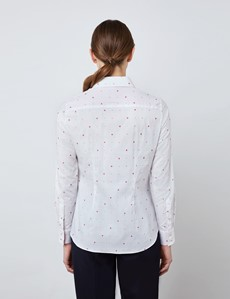 Women's White & Pink Dobby Floral Semi Fitted Shirt