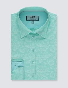 Bluse – Regular Fit – Baumwolle – aqua Paisley