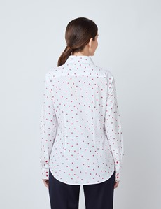 Bluse – Regular Fit – Baumwolle – rot Dobby Dots