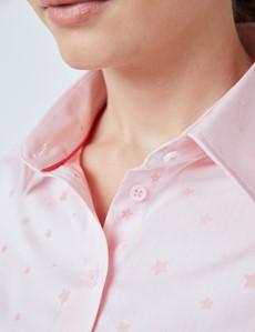 Women's Pink Small Stars Dobby Semi Fitted Shirt