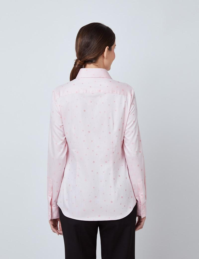 Bluse – Regular Fit – Baumwolle – rosa Dobby Sterne