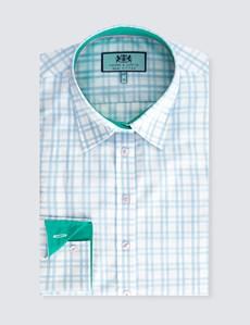 Women's Blue & White Plaid Semi Fitted Shirt - Single Cuff
