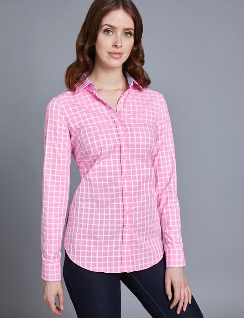 Women's Pink & White Grid Plaid Semi Fitted Shirt - Single Cuff
