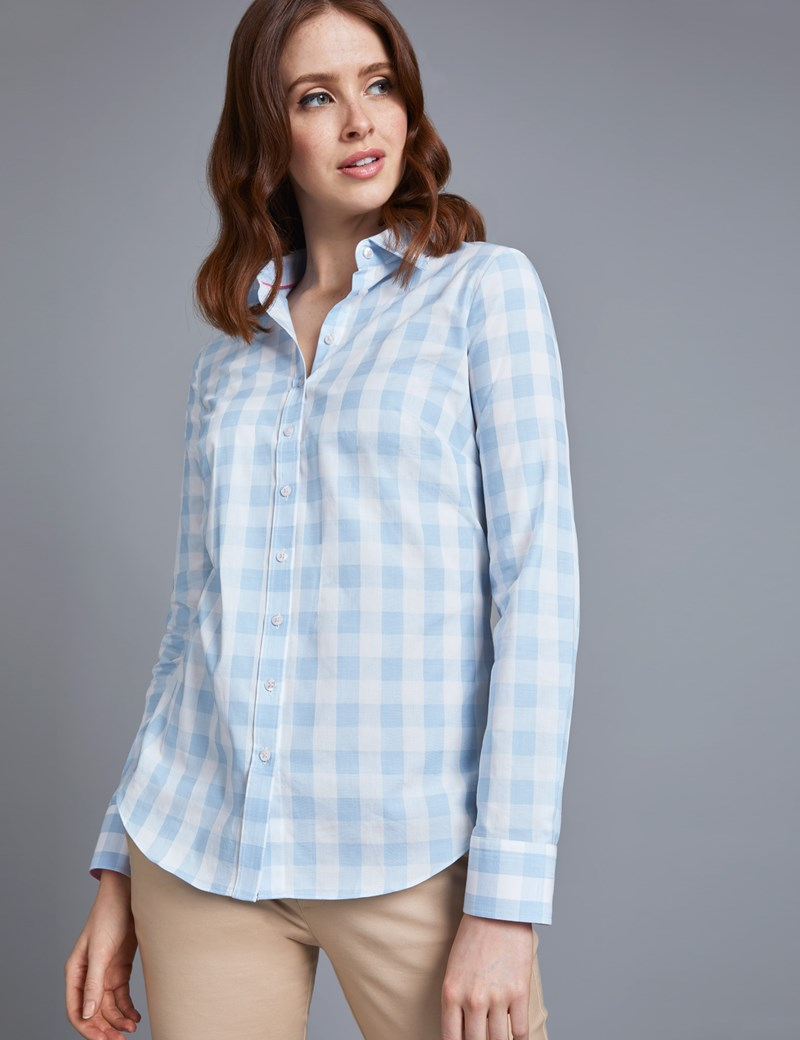 Women's Blue & White Medium Check Semi Fitted Shirt with Contrast Detail - Single Cuff
