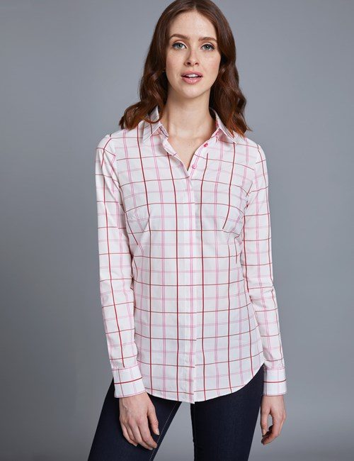 Women's Red & White Large Check Semi Fitted Shirt with Contrast Detail - Single Cuff