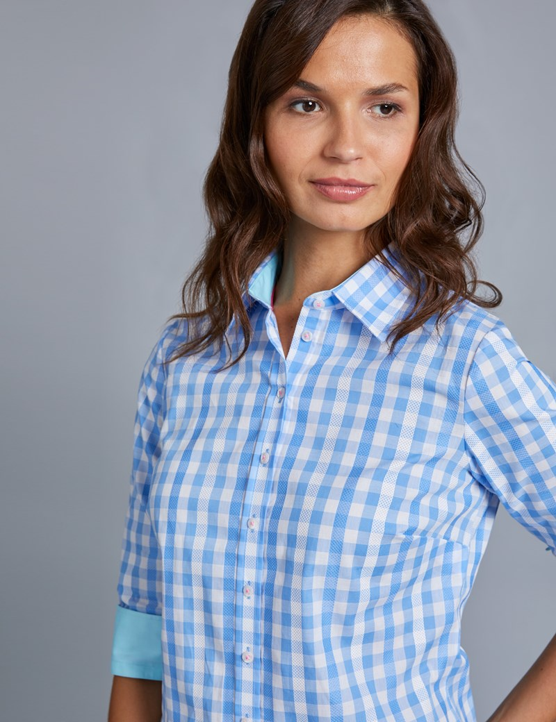 Women's Blue & White Multi Check Semi Fitted Shirt with Contrast Detail - Single Cuff