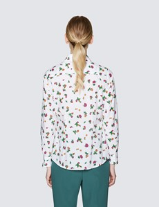 Women's Cream & Red Floral Print Semi Fitted Cotton Shirt